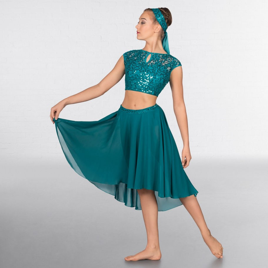 20b819f17163a 1st Position Green Lace Sequin Dipped Hem Lyrical Two Piece Dance ...