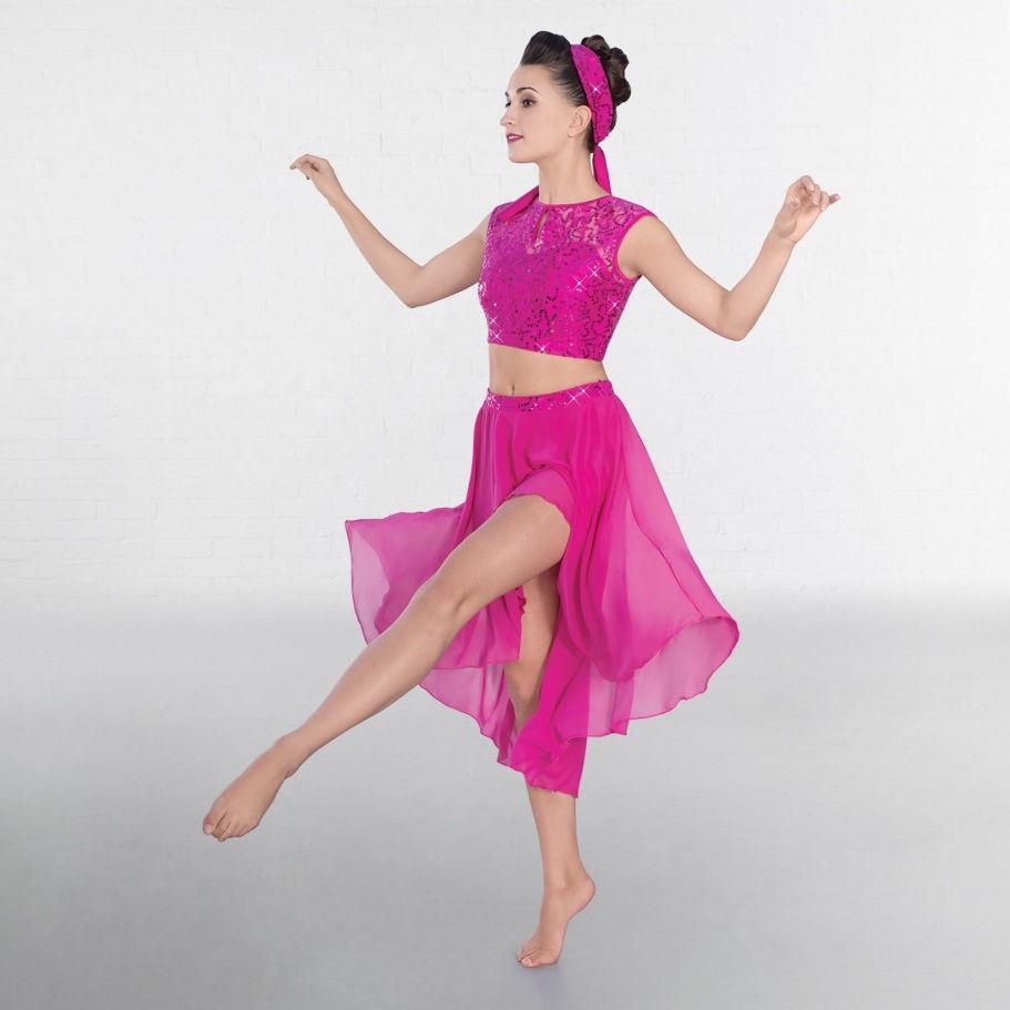 2e685300cc2c5 1st Position Magenta Lace Sequin Dipped Hem Lyrical Two Piece Dance ...