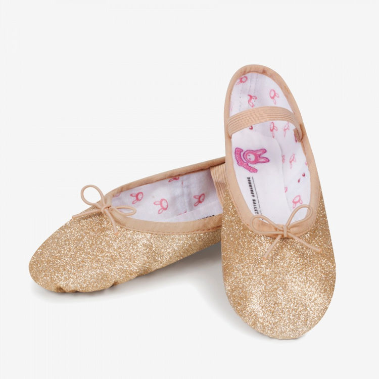 ... small childrens ballet shoes in pink or gold from Bloch (BLS0225: www.thedancersshop.co.uk/acatalog/Bloch-Glitterdust-Ballet-Shoes.html