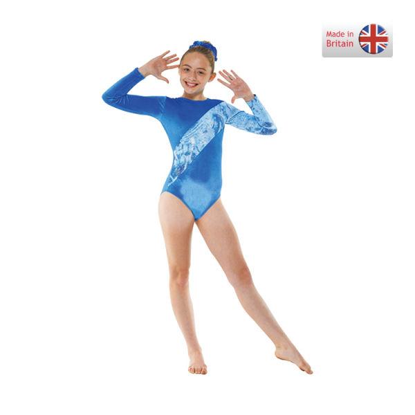 166c0c7e3 Childrens Smooth Velvet Long Sleeve Leotards in Royal Blue or Grape