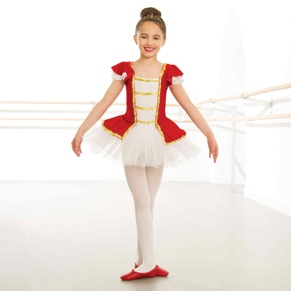 57c8cb1400 Childrens Red Velour Gold Trim Tutu | The Dancers Shop UK