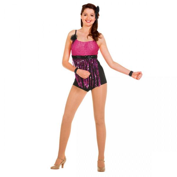 Pink/Black Fringed Unitard ...  sc 1 st  The Dancers Shop & Ladies Fringed Unitard Dance Costume | The Dancers Shop UK