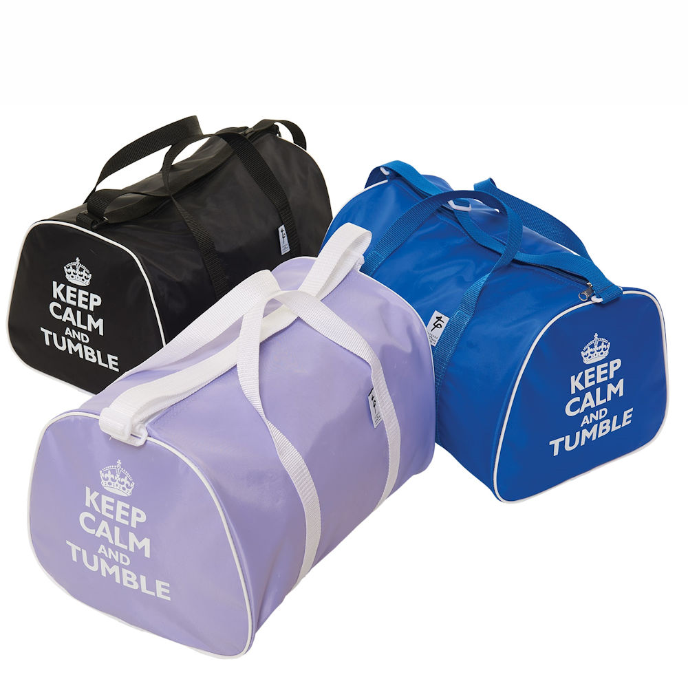 KEEP CALM AND BACKFLIP OR TUMBLE HOLDALL SHOULDER STRAP 5 COLOURS GYMNASTIC BAG