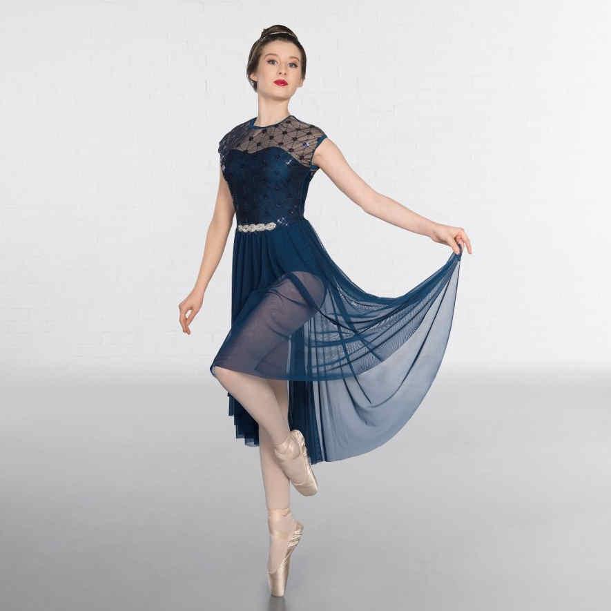1st Position Geometric Navy Blue Mesh Lyrical Dress The