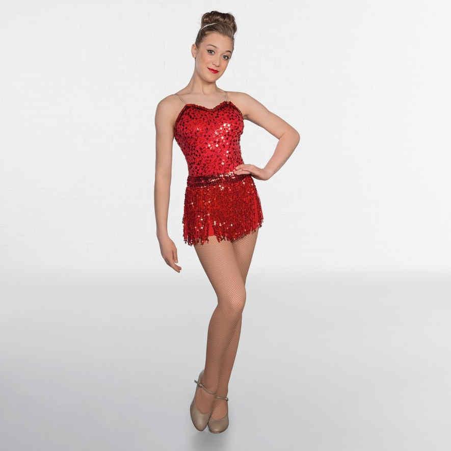 b3b8e31841 1st Position Red Sequin Bodice Fringe Skirt Glitz Dance Costume