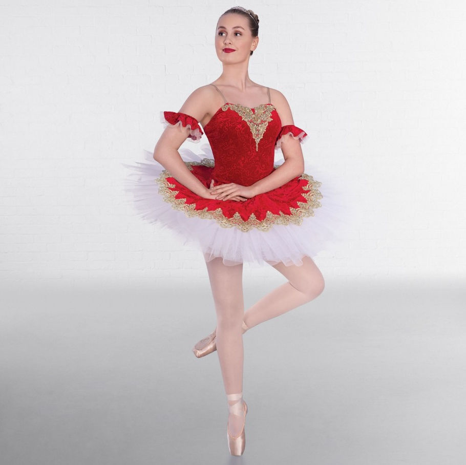 8b3e34555 Ruby Red Gold Trimmed Ballet Bodice with Matching Skirt Over Layer ...