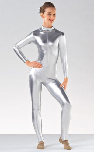 a6d37f759 Childrens Long Sleeve Silver Catsuit