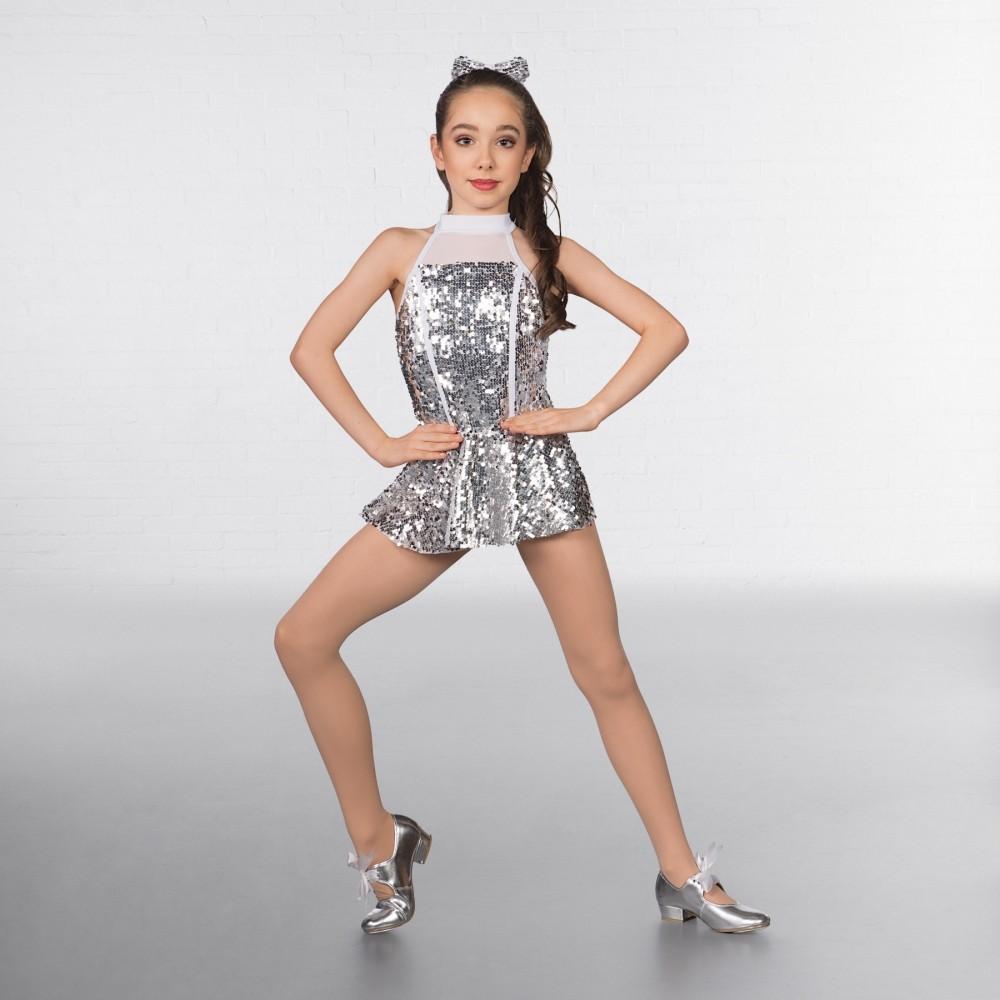 4dbc0e241588a Silver Sequin Glitz High Neck 2 Piece Childrens Dance Costume | The ...