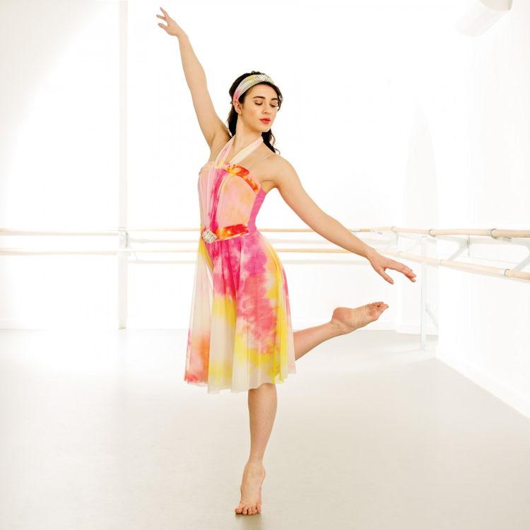 Lyric lyrical dance dresses : 1st Position Floral Print Asymmetrical Lyrical Dress / Dance ...