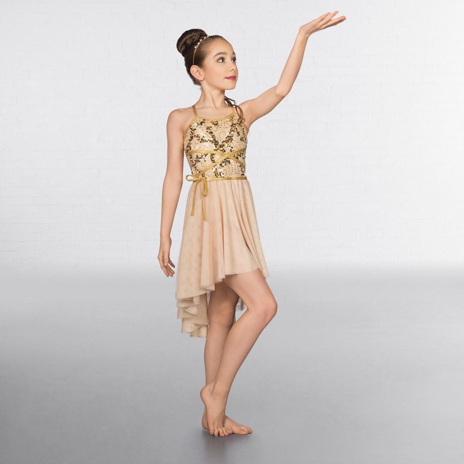 Childrens Wrap Around Sequin Dipped Hem Gold Lyrical Dress